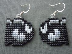 Handmade Seed Bead Bullet Bill Earrings by Pixelosis on Etsy, $25.00