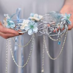 Silver Elven Crown, White and Blue, Ocean Goddess Headpiece, Mermaid... ($148) ❤ liked on Polyvore featuring costumes, goddess halloween costume, goddess costume, bridal costume, bride costume and silver halloween costume