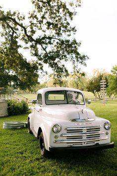 White truck, My expert husband did some research on this truck and it is a 51 Dodge model.