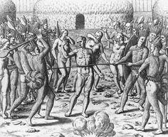 Engraving of Tupinamba Indians Executing a Prisoner by Theodor de Bry - IH157572 - Rights Managed - Stock Photo - Corbis