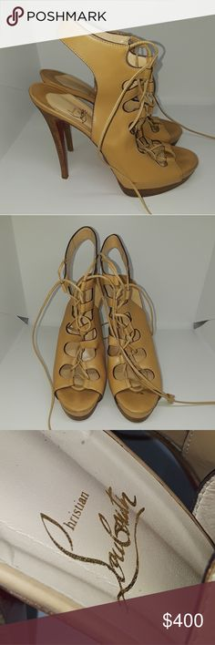 LOUBOUTIN platform strappy heels 100% AUTHENTIC European 41 fits size 10  great condition regular wear no box Christian Louboutin Shoes Heels