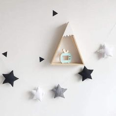ASTRO Nordic Style Kids' Room Handmade Hanging Star Ornament Wall Decoration - black white