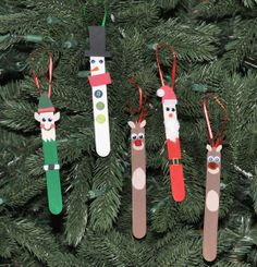 Popsicle Stick Christmas Ornaments  holiday crafts for kids I have these from my older kids (school projects...Andrea, Michael, Jacob) :) lol