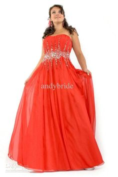 Custom Made Best Selling Plus Size Strapless Beaded Long Chiffon Evening Gown 2013 - DHGate
