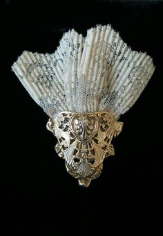 Gold Filigree Metal and Lace Cloth  Brooch by JennieJamesResale on Etsy