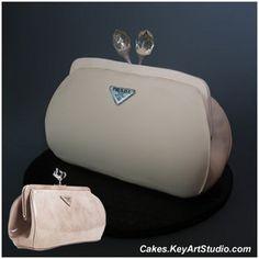 Prada Spazzolato Clutch Purse Cake with Crystals / Jewel Closing  by Cakes.KeyArtStudio.com, via Flickr