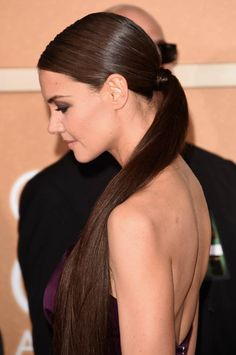 Katie Holmes - slicked back ponytail - 2015 Golden Globes