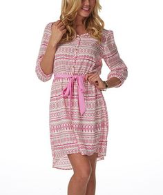 Look what I found on #zulily! Pink & White Tribal Button-Up Dress by Pinkblush #zulilyfinds