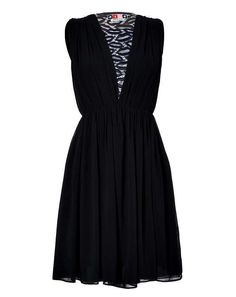 Black Lace Panel Dress Luxury Fashion Delightful Shopping -   Black with navy lip patterned lace paneling, round neckline, sleeveless, hidden side zip  $955.00