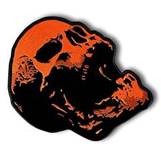 "[Single Count] Custom and Unique (3 x 5″ Inch) ""Biker"" Scary Screaming Angry Horror Skull Iron On Embroidered Applique Patch {Orange and Black Colors} Review"