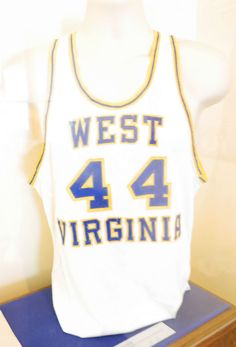Jerry West's white 44 jersey for the WVU Mountaineers