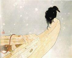 竹内栖鳳(Takeuchi Seiho 1864ー1942)   「春雪(Spring Snow)」(1942)