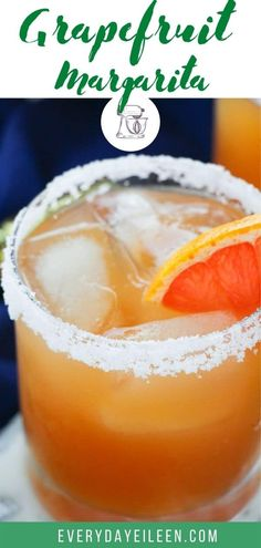 Grapefruit Margarita, a citrus cocktail that is full of flavor from fresh grapefruit juice, tequila, and triple sec. This margarita is easy to make in a double or triple batch. Great for a make-ahead cocktail. #grapefruitmargarita #margarita #gamedaycocktail #everydayeileen