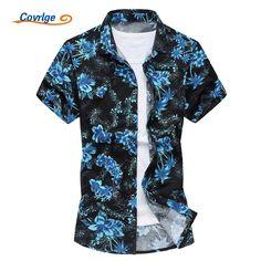 Covrlge Men's Shirt Fashion Brand Hawaiian Shirt Summer Mens Short-sleeved Casual Shirts Big Sizes 5xl Printed Beachwear MCS014