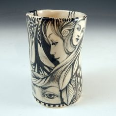 black and white porcelain hand painted story cup by PSPorcelain, $40.00