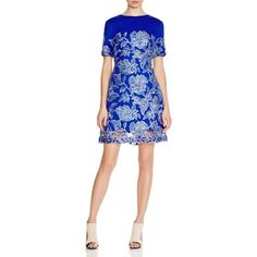 Tadashi Shoji Embroidered Floral Lace Dress (€365) ❤ liked on Polyvore featuring dresses, blue violet, embroidered dress, floral lace dress, blue dress, floral print dress and lace fit and flare dress