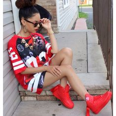 Swag Dope Pretty Girl Red Air Force 1 Nike Urban Streetwear Fashion Gold Chains