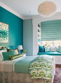 Teen Bedroom Ideas - Some unique teen bedroom ideas that add fun to a room include: A creative swing or hanging chair. A hanging bed. A wall mounted fish tank. A round bed. A chalkboard wall where they can express themselves (note: chalkboard paint is ava Dream Bedroom, Home Decor Bedroom, Bedroom Wall, Bedroom Furniture, Bedroom Ideas, Bed Room, Bedroom Themes, Bedroom Green, Cozy Bedroom