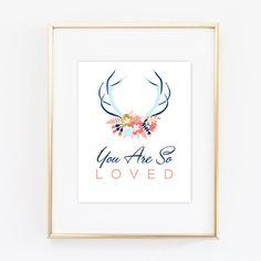 You Are So Loved, Printable, Valentine Print, Woodland Nursery, Antlers Wall Art, Nursery Art, Gold Art, Printable, Gold Nursery, Modern