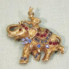 Hattie Carnegie Rhinestone Elephant Pin Brooch from cobayley on Ruby Lane