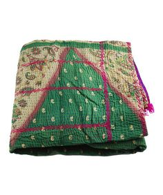 Take a look at this Green & Beige Kantha Sari Throw by Modelli Creations on #zulily today!