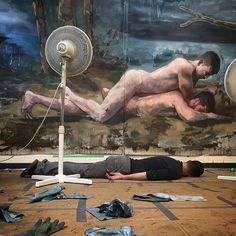 Finished; on so many levels... #ITSDONE #art #artstudio #fineart #figurativepainting #homoeroticism #instagay #queerart #oilpainting #oilpaint #paint #painting #umoca #umoca2016 #AStrangeFeeling #andrewmoncrief #andrewmoncrief2016 @utahmoca by an_drew_moncrief
