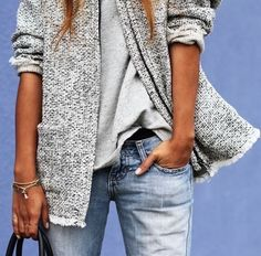 casual, chic, clothes, denim, fall, fashion, grey, jeans, minimal, outfit, street, style