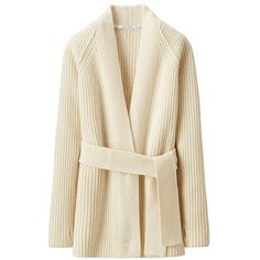 UNIQLO Lemaire Lambswool Long Cardigan (80 CAD) ❤ liked on Polyvore featuring tops, cardigans, evening tops, uniqlo, long loose cardigan, thick cardigan and loose cardigan