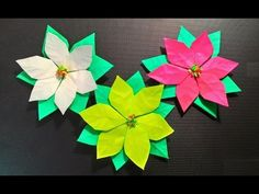 How to fold a poinsettia flower, origami - YouTube