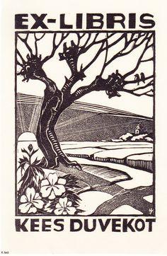 ≡ Bookplate Estate ≡ vintage ex libris labels︱artful book plates - Tree woodcut, Johan Melse