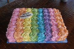 Birthday sheet cake covered with rainbow rosettes (diy birthday cake flowers) Birthday Sheet Cakes, Diy Birthday Cake, Mini Cakes, Cupcake Cakes, Bolo Neon, Cupcakes Decorados, Square Cakes, Cake Cover, Diy Cake
