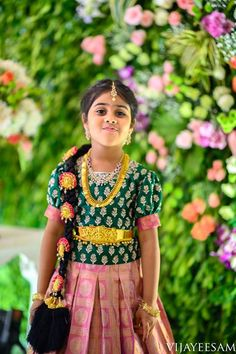 Looking Cute and Pretty Kid wearing fresh flower for her function. She is carrying traditional dress and jewellery as well. PoolaJada by Annapurna Branch Designer Photography . Our other wedding services: . Kids Party Wear Dresses, Kids Dress Wear, Kids Gown, Little Girl Dresses, Baby Dress, Girls Frock Design, Kids Frocks Design, Baby Frocks Designs, Kids Lehanga Design