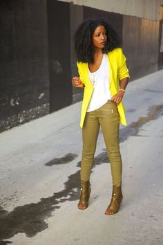 Neon Blazer + Coated Pants
