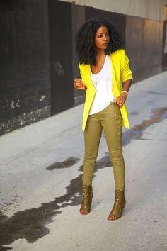 Neon Blazer + Coated Pants