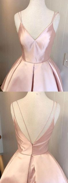 Custom Made Vogue Pink Homecoming Dress Hot Selling Spaghetti Straps V-neck Pink Simple Homecoming Dresses Simple Homecoming Dresses, Hoco Dresses, Simple Dresses, Sexy Dresses, Casual Dresses, Wedding Dresses, Party Dresses, Pink Dresses, Elegant Dresses