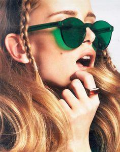 green no frame sunglasses #accessories