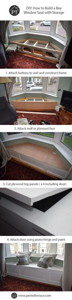 Steps for how to build a bay window seat with storage