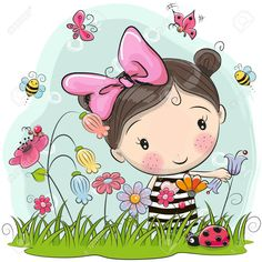Cute Cartoon Girl On A Meadow With Flowers And Butterflies Royalty Free Cliparts, Vectors, And Stock Illustration. Girl Cartoon Characters, Cute Cartoon Girl, Cartoon Memes, Cartoon Drawings, Cartoon Art, Cute Drawings, Cartoon Profile Pictures, Penny Black, Cute Cartoon Wallpapers