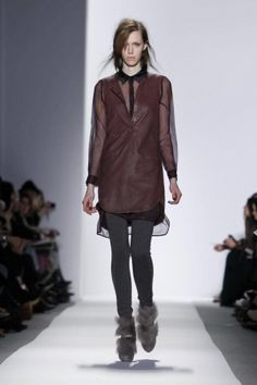 Sheer blouse + Leather tunic. Rebecca Taylor   FW2012 #NYFW