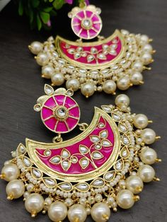 Order via Whatsapp on or visit ArtistryC.in - Earrings, Necklace & Rings - dekoration Indian Jewelry Earrings, Indian Jewelry Sets, Jewelry Design Earrings, Gold Earrings Designs, Ear Jewelry, Pink Earrings, Fashion Earrings, Fashion Jewelry, Antique Jewellery Designs
