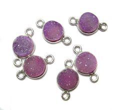 925 Sterling Silver Bezel druzy Connectors  fine by finegemstone, $24.00