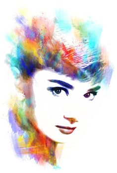 Audrey Hepburn Art Print by Michael Akers- thinking that I'm going to recreate this with water colors today in art if Mrs. K will let me... I'll post it on Facebook. ;3
