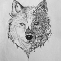 aztec wolf drawing I did last year from a pic I saw on google images. Instagram: idk.arts