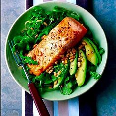 Delicious Organic Roast Salmon! Gluten-free? Yes. High protein course? Yes. Make Health a Priority. See Recipe: 1x200g organic salmon fillet with skin 2 tbsp olive oil 25g wild rocket 50g watercress 1 ripe avocado 1 tsp balsamic vinegar 15g pine nuts toasted Preparation: Preheat the grill to high. Brush the salmon on both sides with 1 teaspoon oil and lightly season the flesh side with black pepper. Put skin-side up on a lightly oiled baking tray. Mix the rocket leaves and watercress tog...