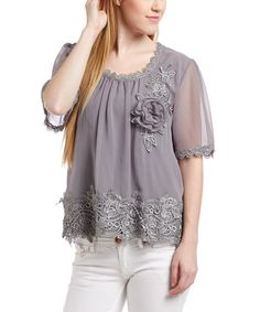 Look at this Pretty Angel Gray Lace Scoop Neck Silk-Blend Top on #zulily today!