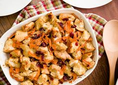 SWEET POTATO RIBBONS - No holiday meal is complete without stuffing. Try our Sweet Potato Ribbons and Cranberry Stuffing for a festive twist on this classic dish.