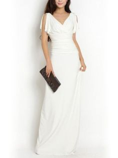 Noemie V Neck Elastic Fabric High Fashion Goddnes Style Long Evening Dress(white) http://patriciaalberca.blogspot.com.es/