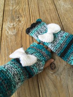 Multicolored Wrist Warmers with White Bow, Crochet Fingerless Gloves, Texting Gloves - check out entire selection by TheHookster on Etsy