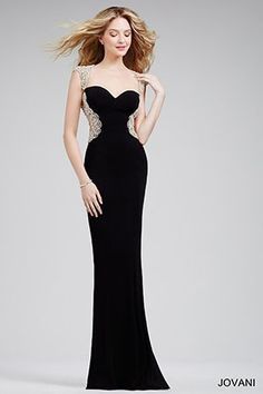Black Jersey Sheath Prom Dress 27513