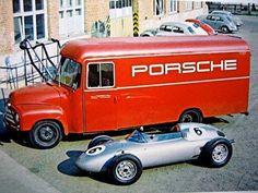 Opel Blitz 175, used by Porsche as Race-Service-Van in the early 1950; Race-car: Porsche 718/2 Monoposto 1959